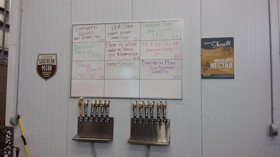 Lazy Magnolia Brewing Company: Picture of current beers on tap