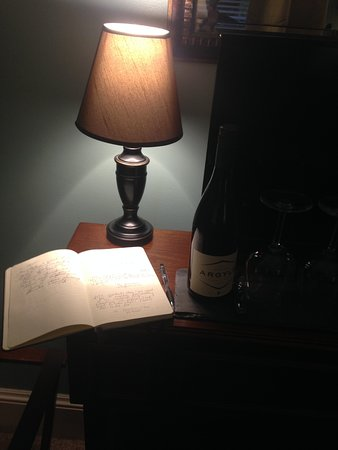 The Chadwick Bed & Breakfast: Guest book and pre-requested wine delivery