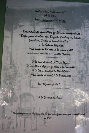 Gorbio, France: La carte des menus