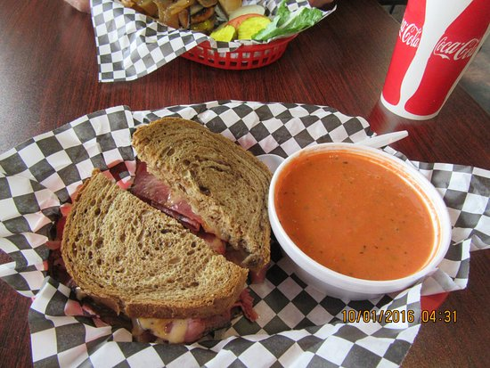 Wasatch Back Grill & Deli: Reuben and tomato bisque soup, sold separately.