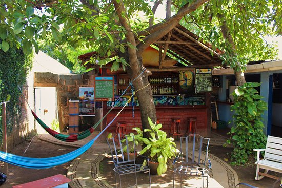 Latina Hostal: patio and hammocks