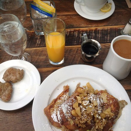 High-Hand Conservatory: Apple Crumble French Toast, side of sausage