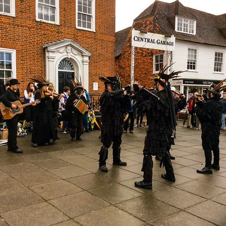 Tenterden, UK: Participants of the Folk Festival, rendering a dance number along the street of HIGH STREET