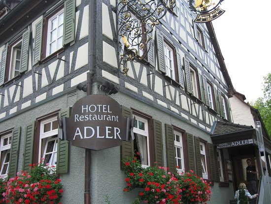 Hotel Adler: HotelAdler showing traditionalSchwabian architectural style of maimbuilding.The Restaurant is up