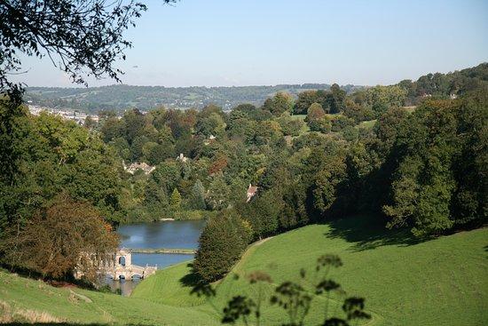 Prior Park Landscape Gardens (NT): Looking Down To The Palladian Bridge.  Bath