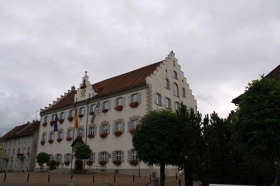 Tettnang, Alemania: お城からみた市庁舎、お城の外観改装中