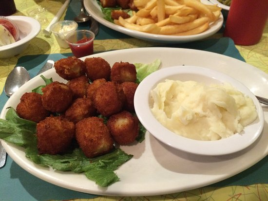 New Market, VA: Sweet Small Scallops with Mashed Potatoes, Good Eats