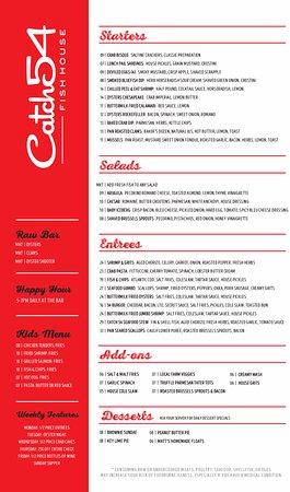 Catch 54: menu