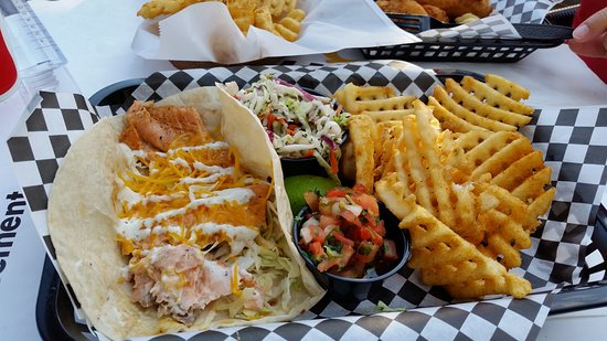 The Tin Fish : Salmon tacos and waffle fries.