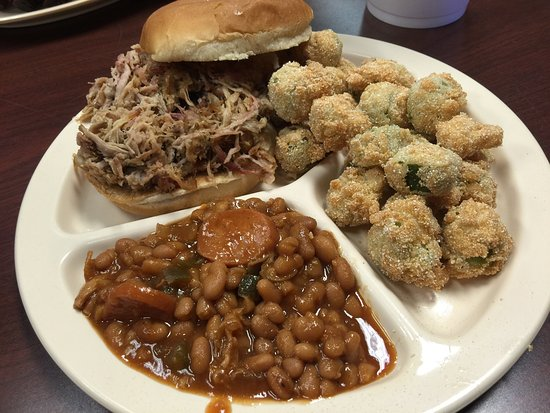 Bar-B-Q By Jim: Pulled Pork Sandwich with hand battered fried okra and baked beans
