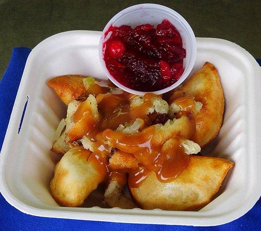 karavan kanteen savoury turkey perogies with gravy stuffing and cranberry sauce