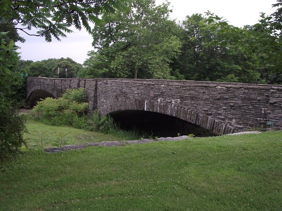 Trumansburg, นิวยอร์ก: TAUGHANNOCK STATE PARK -BRIDGE ON NY ROUTE 89 - FROM PARKING LOT NEAR LOWER FALLS