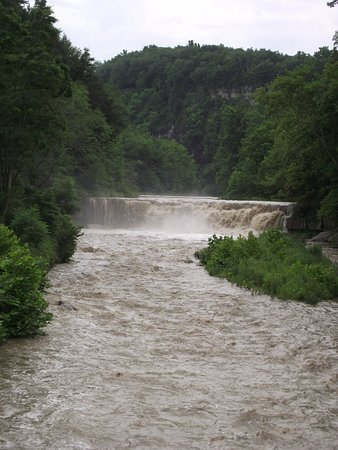 Trumansburg, นิวยอร์ก: TAUGHANNOCK STATE PARK - LOWER FALLS - FROM BRIDGE ON NY ROUTE 89