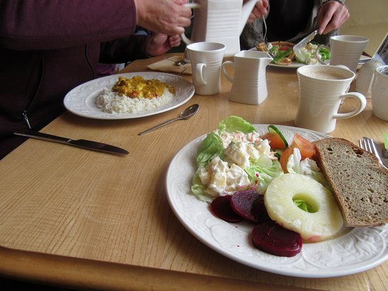 Belleek, UK: Salad and curry in distance. It was also good.