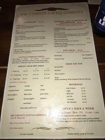 Sac City, IA: Front of the menu