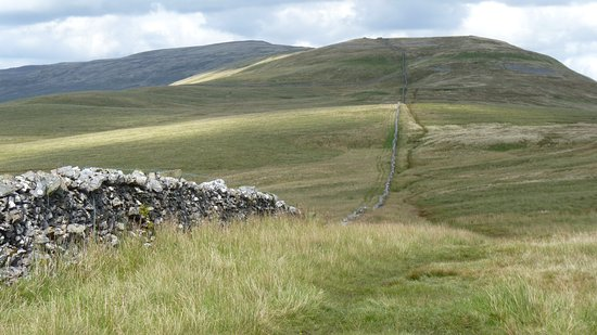 Horton-in-Ribblesdale, UK: Whernside from afar, with Ingleton behind us