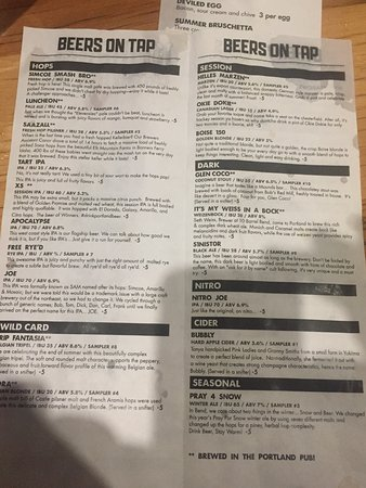 Beer Menu  Picture Of  Barrel Brewing Co Portland  Tripadvisor