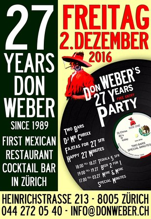 2. Dezember 2016 - 27 Years Don Weber Party FREE ENTRY