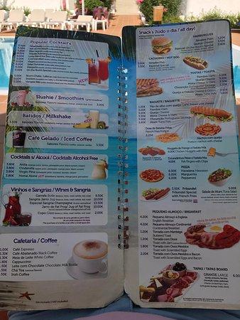Pool and bar menu