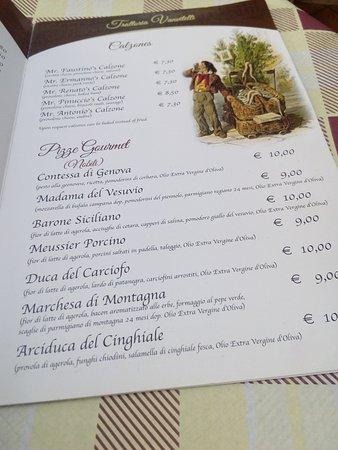Menu Picture Of Trattoria Vanvitelli Naples Tripadvisor