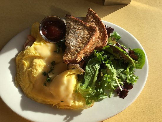 First Watch: Lemon Ricotta Pancakes and Omlet (ham and Gruyere)