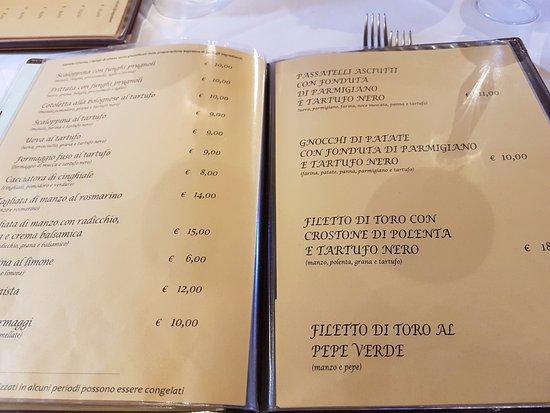 Vergato, Italie: menù