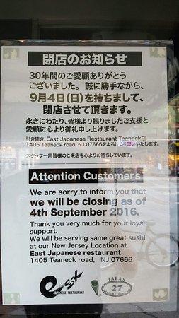 East Japanese Restaurant: Closed since 4SEP2016