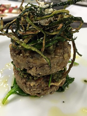 Leavenworth, KS: Lentil Cakes with wilted Spinach and Lemon Thyme Zucchini Strings