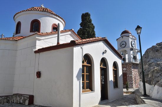 Skiathos Town, Grèce : Agios Nikolaos Church and Clock Tower