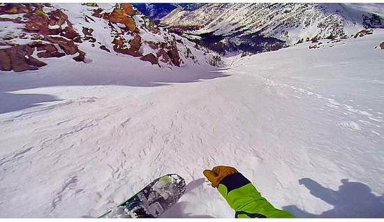 Dillon, CO: Down the chute during spring skiing conditions.