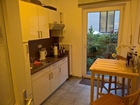 Hotel Loehndorf: Kitchen in the apartment, exit to the terrace.