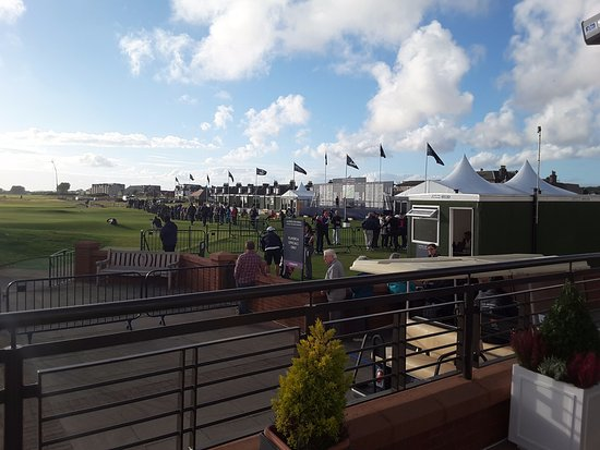 Carnoustie, UK: View from the terrace looking onto the 18th green