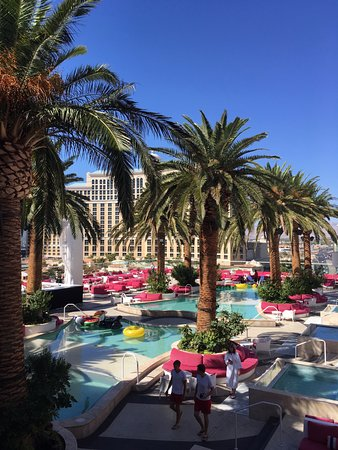 Hotel pool with people  Pool before people start showing up. - Bild von The Cromwell, Las ...
