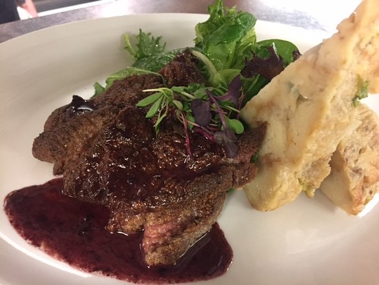 Crafthouse Gastropub: pan fried calf liver- three onion bread pudding, dressed greens, red wine pan sauce