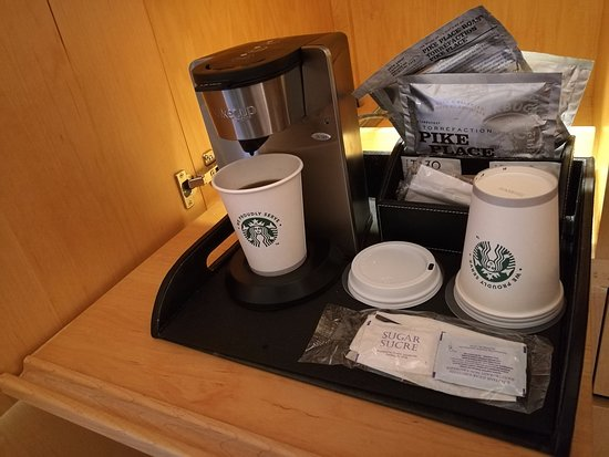 The Westin Galleria Dallas: Courtesy tray with oversize Starbucks coffee bags