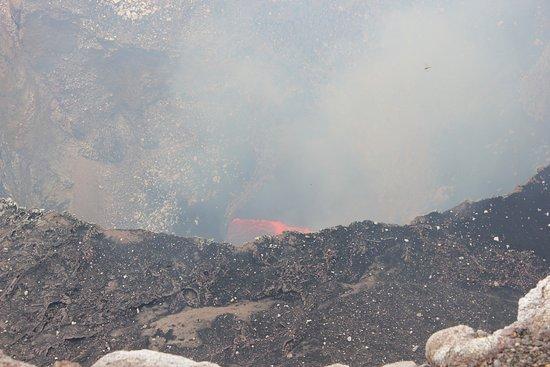 Masaya, Nicaragua: Red lava in volcano crater.