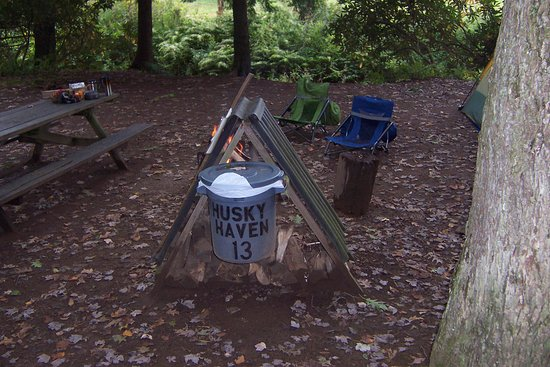 Rockwood, PA: Firewood shelter and trash can at every campsite.