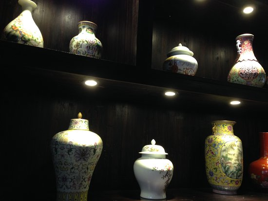 Jingdezhen, China: some potery in a restaurant in the potery workshop