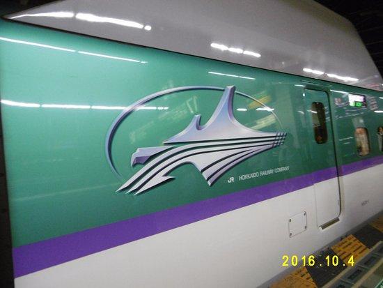 Tohoku, Japón: H5系のシンボル(ラベンダー色のラインに北海道マーク)