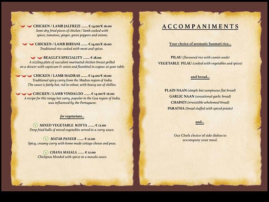 Menu Sample - Picture Of Beagle'S Indian Restaurant, Mellieha