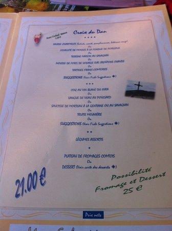 Hotel Restaurant Les Charmilles: un des menus