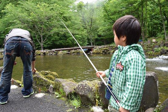Hirakawa, Japan: 長男の釣堀デビューです