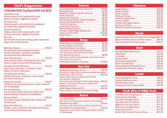 Goulburn Chinese Restaurant Menu