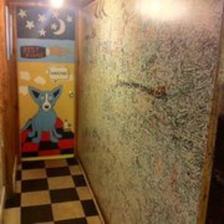 Empire, CO: Blue dog on the potty door