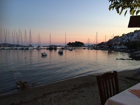 Limanaki : Looking over towards Skiathos Town and the new port
