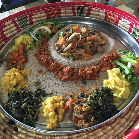Pflugerville, TX: Vegetarian Ultimate Combo plus Lamb Tibbs - don't forget to ask for more injera
