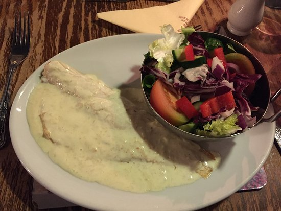 Gayton, UK: Sea Bass fillet in a mild horseradish sauce with mixed salad