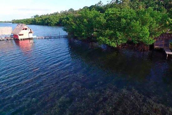 Isla San Cristobal, Panama : left reef cabin right hidden treasure cabin - all in between is reef