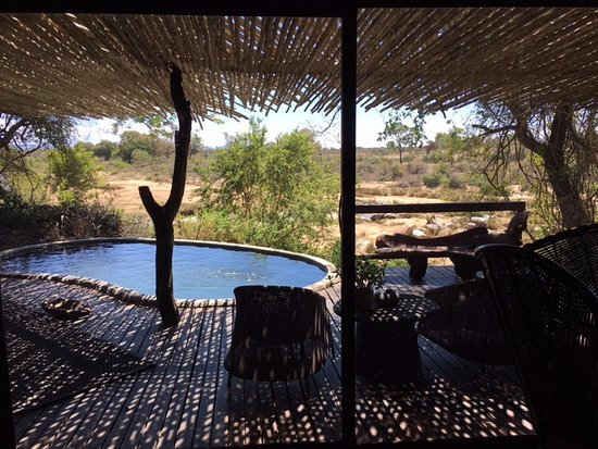Singita Boulders Lodge: The terrace with a private pool 32 degrees