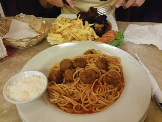 Amazon Bistro: The meatballs were kind of strange. They need to add more garlic and herbs to the sauce. too bla